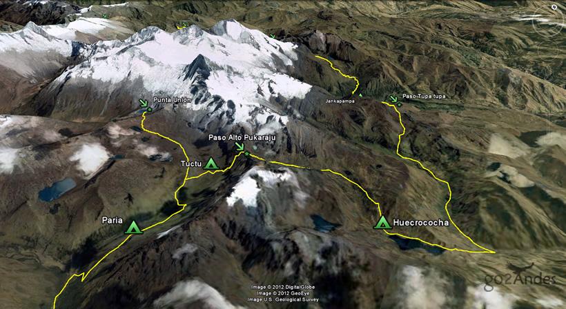 Alpamayo Trek Map In The Cordillera Blanca Peru