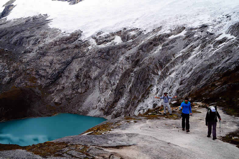 Walking up to Punta Union pass, Santa Cruz trek in the Cordillera Blanca, Peru